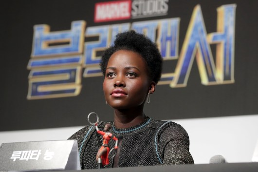 SEOUL, SOUTH KOREA - FEBRUARY 05: Actor Lupita Nyong'o(L) attends the press conference for the Seoul premiere of 'Black Panther' on February 5, 2018 in Seoul, South Korea. (Photo by Han Myung-Gu/Getty Images for Disney) *** Local Caption *** Lupita Nyong'o