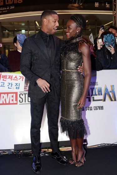 SEOUL, SOUTH KOREA - FEBRUARY 05: Actor Michael B. Jordan(L) and Lupita Nyong?(R) arrive at the red carpet of the Seoul premiere of 'Black Panther' on February 5, 2018 in Seoul, South Korea. (Photo by Han Myung-Gu/Getty Images for Disney) *** Local Caption *** Michael B. Jordan; Lupita Nyong'o