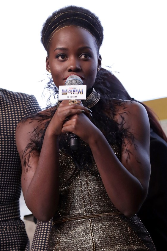 SEOUL, SOUTH KOREA - FEBRUARY 05: Actor Lupita Nyong'o takes part in the red carpet event for the Seoul premiere of 'Black Panther' on February 5, 2018 in Seoul, South Korea. (Photo by Han Myung-Gu/Getty Images for Disney) *** Local Caption *** Lupita Nyong'o