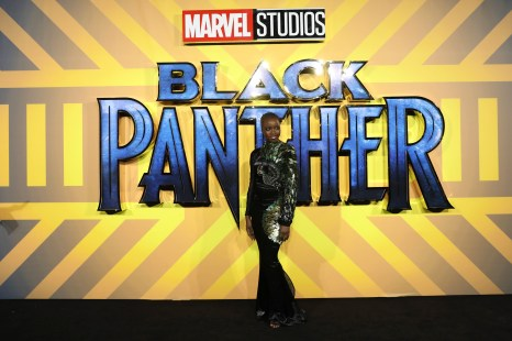 LONDON, UK – FEBRUARY 08: Danai Gurira attends the European Premiere of Marvel Studios' BLACK PANTHER at the Eventim Apollo in London on 8th February 2018