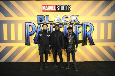 "LONDON, ENGLAND - FEBRUARY 08: Black Eyed Peas attends the European Premiere of Marvel Studios' ""Black Panther"" at the Eventim Apollo, Hammersmith on February 8, 2018 in London, England. (Photo by Gareth Cattermole/Getty Images for Disney) *** Local Caption *** Black Eyed Peas"