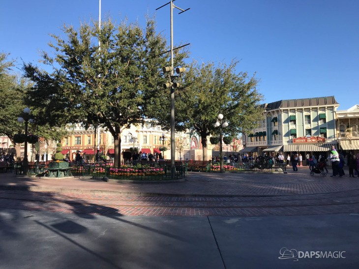 Disneyland Town Square Bricks With Walls Down in Spring-11