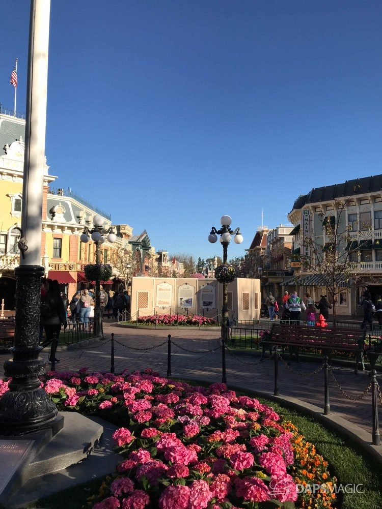 Disneyland Town Square Bricks With Walls Down in Spring-12