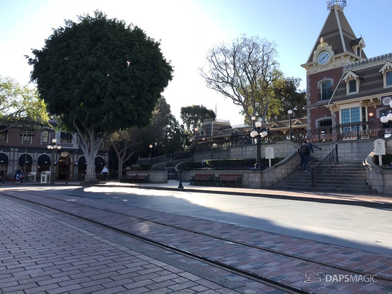 Disneyland Town Square Bricks With Walls Down in Spring-26