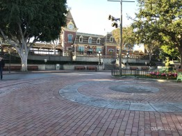 Disneyland Town Square Bricks With Walls Down in Spring-3