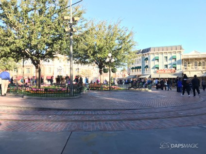 Disneyland Town Square Bricks With Walls Down in Spring-7