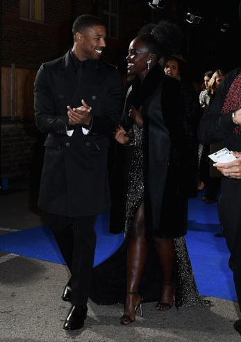 "LONDON, ENGLAND - FEBRUARY 08: Michael B Jordan and Lupita Nyongío attend the European Premiere of Marvel Studios' ""Black Panther"" at the Eventim Apollo, Hammersmith on February 8, 2018 in London, England. (Photo by Gareth Cattermole/Getty Images for Disney) *** Local Caption *** Michael B Jordan; Lupita Nyongío"