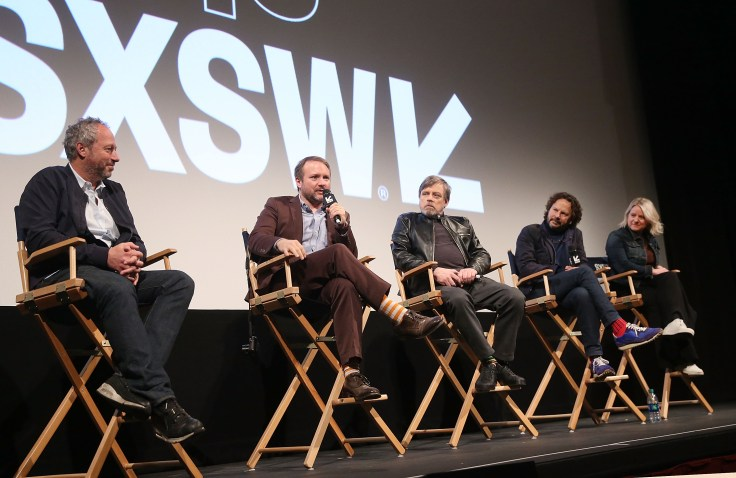 """AUSTIN, TX - MARCH 12: (L-R) Director Anthony Wonke, Writer/Director Rian Johnson, actor Mark Hamill, producer Ram Bergman and producer Tylie Cox attend the Star Wars: The Last Jedi """"The Director and The Jedi"""" SXSW Documentary Premiere at Paramount Theatre on March 12, 2018 in Austin, Texas. (Photo by Jesse Grant/Getty Images for Disney) *** Local Caption *** Anthony Wonke;Rian Johnson;Mark Hamill;Ram Bergman;Tylie Cox"""