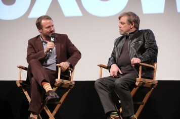 "AUSTIN, TX - MARCH 12: Writer/Director Rian Johnson and actor Mark Hamill attend the Star Wars: The Last Jedi ""The Director and The Jedi"" SXSW Documentary Premiere at Paramount Theatre on March 12, 2018 in Austin, Texas. (Photo by Jesse Grant/Getty Images for Disney) *** Local Caption *** Rian Johnson;Mark Hamill"