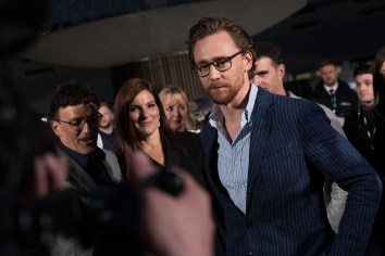 LONDON, ENGLAND - APRIL 08: Tom Hiddleston attends the UK Fan Event to celebrate the release of Marvel Studios' 'Avengers: Infinity War' at The London Television Centre on April 8, 2018 in London, England. (Photo by Gareth Cattermole/Gareth Cattermole/Getty Images for Disney)