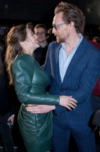 LONDON, ENGLAND - APRIL 08: Elizabeth Olson (L) and Tom Hiddleston (R) attend the UK Fan Event to celebrate the release of Marvel Studios' 'Avengers: Infinity War' at The London Television Centre on April 8, 2018 in London, England. (Photo by Gareth Cattermole/Gareth Cattermole/Getty Images for Disney)