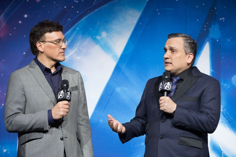 LONDON, ENGLAND - APRIL 08: Anthony Russo (L) and Joe Russo (R) attend the UK Fan Event to celebrate the release of Marvel Studios' 'Avengers: Infinity War' at The London Television Centre on April 8, 2018 in London, England. (Photo by Gareth Cattermole/Gareth Cattermole/Getty Images for Disney)