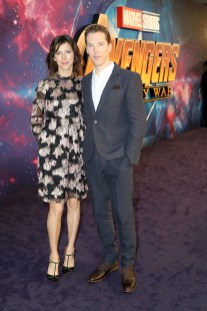 LONDON, ENGLAND - APRIL 08: Sophie Hunter (L) and Benedict Cumberbatch (R) and attend the UK Fan Event to celebrate the release of Marvel Studios' 'Avengers: Infinity War' at The London Television Centre on April 8, 2018 in London, England.