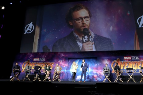 LONDON, ENGLAND - APRIL 08: Tom Hiddleston attends the UK Fan Event to celebrate the release of Marvel Studios' 'Avengers: Infinity War' at The London Television Centre on April 8, 2018 in London, England.
