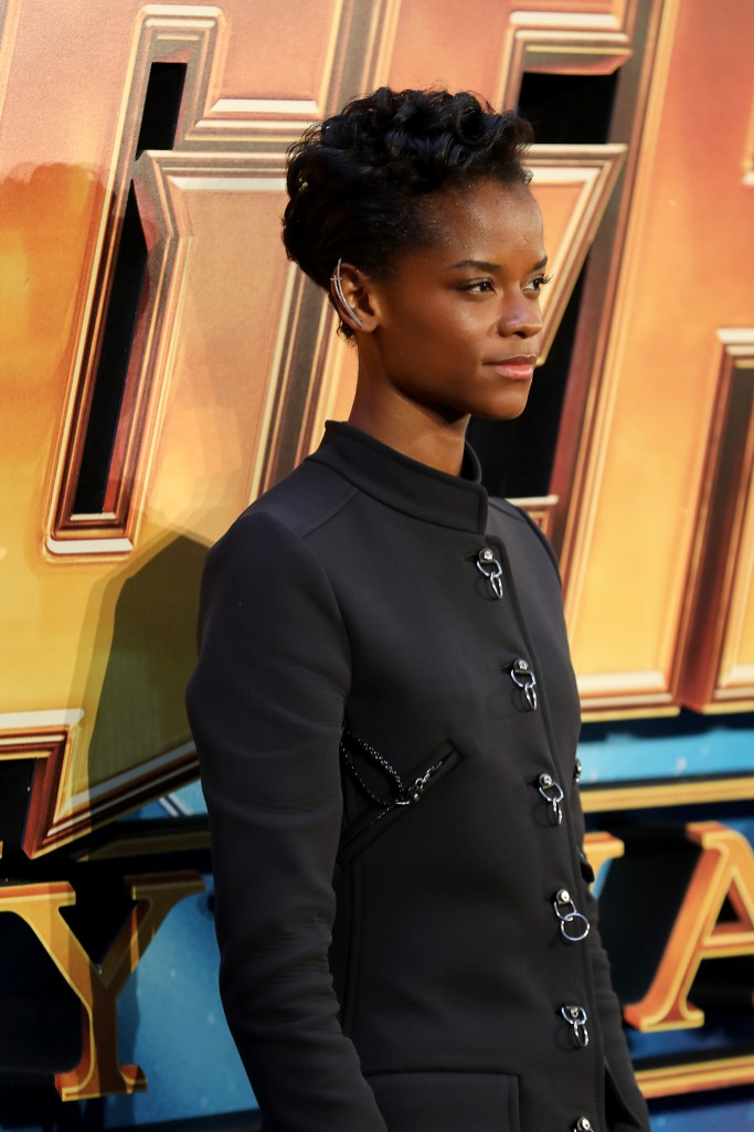 LONDON, ENGLAND - APRIL 08: Letitia Wright attends the UK Fan Event to celebrate the release of Marvel Studios' 'Avengers: Infinity War' at The London Television Centre on April 8, 2018 in London, England.