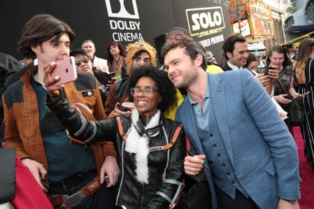 """Alden Enrenreich poses for photos with fans at the world premiere of """"Solo: A Star Wars Story"""" in Hollywood on May 10, 2018. (Photo: Alex J. Berliner/ABImages)"""