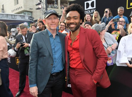HOLLYWOOD, CA - MAY 10: Director Ron Howard (L) and actor Donald Glover attend the world premiere of ìSolo: A Star Wars Storyî in Hollywood on May 10, 2018. (Photo by Charley Gallay/Getty Images for Disney) *** Local Caption *** Ron Howard; Donald Glover