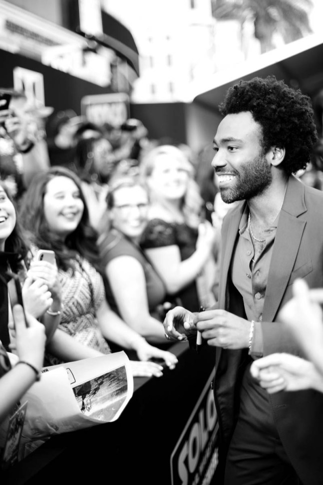 HOLLYWOOD, CA - MAY 10: (EDITORS NOTE: This image has been shot in black and white. Color version not available) Donald Glover attends the world premiere of ìSolo: A Star Wars Storyî in Hollywood on May 10, 2018. (Photo by Charley Gallay/Getty Images for Disney) *** Local Caption *** Donald Glover