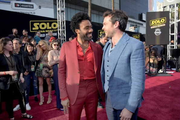 HOLLYWOOD, CA - MAY 10: Actors Donald GLover (L) and Alden Ehrenreich attend the world premiere of ìSolo: A Star Wars Storyî in Hollywood on May 10, 2018. (Photo by Charley Gallay/Getty Images for Disney) *** Local Caption *** Donald Glover; Alden Ehrenreich