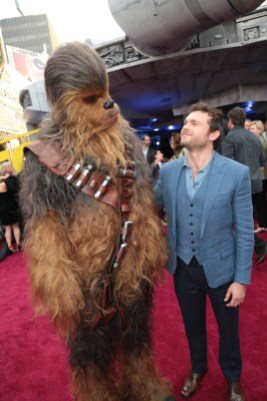 "Chewbacca poses with Alden Enrenreich at the world premiere of ""Solo: A Star Wars Story"" in Hollywood on May 10, 2018. (Photo: Alex J. Berliner/ABImages)"