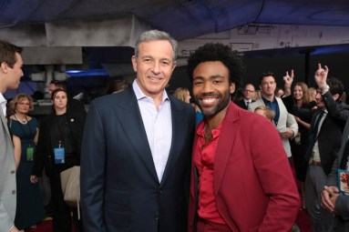 "Bob Iger and Donald Glover attend the world premiere of ""Solo: A Star Wars Story"" in Hollywood on May 10, 2018. (Photo: Alex J. Berliner/ABImages)"