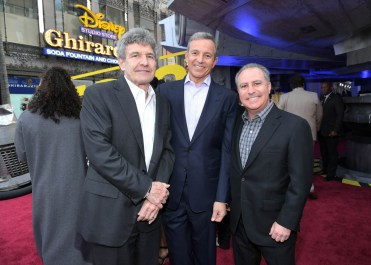 HOLLYWOOD, CA - MAY 10: (L-R) Chairman, The Walt Disney Studios, Alan Horn, The Walt Disney Company Chairman and CEO Bob Iger, and Walt Disney Studios President Alan Bergman attend the world premiere of ìSolo: A Star Wars Storyî in Hollywood on May 10, 2018. (Photo by Charley Gallay/Getty Images for Disney) *** Local Caption *** Alan Horn; Bob Iger; Alan Bergman