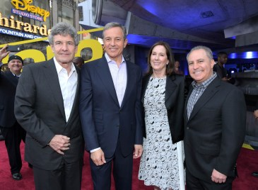 HOLLYWOOD, CA - MAY 10: (L-R) Chairman, The Walt Disney Studios, Alan Horn, The Walt Disney Company Chairman and CEO Bob Iger, Producer Kathleen Kennedy, and Walt Disney Studios President Alan Bergman attend the world premiere of ìSolo: A Star Wars Storyî in Hollywood on May 10, 2018. (Photo by Charley Gallay/Getty Images for Disney) *** Local Caption *** Alan Horn; Bob Iger; Kathleen Kennedy; Alan Bergman