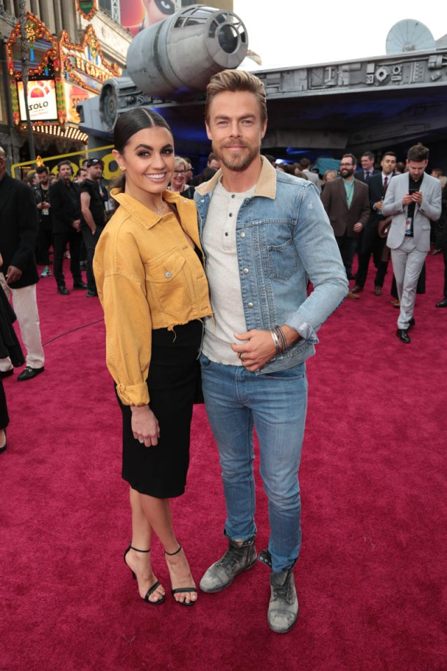 "Hayley Erbert and Derek Hough attend the world premiere of ""Solo: A Star Wars Story"" in Hollywood on May 10, 2018. (Photo: Alex J. Berliner/ABImages)"