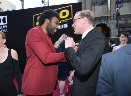HOLLYWOOD, CA - MAY 10: Actors Donald Glover (L) and Paul Bettany attend the world premiere of ìSolo: A Star Wars Storyî in Hollywood on May 10, 2018. (Photo by Charley Gallay/Getty Images for Disney) *** Local Caption *** Donald Glover; Paul Bettany