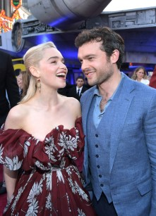 HOLLYWOOD, CA - MAY 10: Actors Emilia Clarke (L) and Alden Ehrenreich attend the world premiere of ìSolo: A Star Wars Storyî in Hollywood on May 10, 2018. (Photo by Charley Gallay/Getty Images for Disney) *** Local Caption *** Emilia Clarke; Alden Ehrenreich