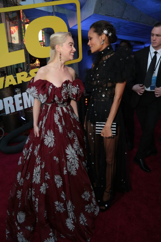 """Emilia Clarke and Thandie Newton attend the world premiere of """"Solo: A Star Wars Story"""" in Hollywood on May 10, 2018. (Photo: Alex J. Berliner/ABImages)"""