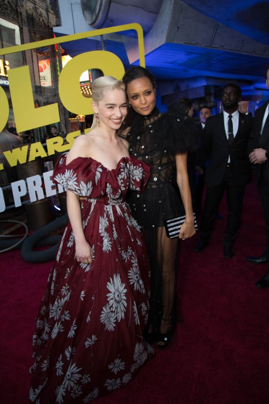 "Emilia Clarke and Thandie Newton attend the world premiere of ""Solo: A Star Wars Story"" in Hollywood on May 10, 2018..(Photo: Alex J. Berliner/ABImages)."