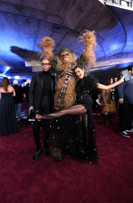 HOLLYWOOD, CA - MAY 10: (L-R) RuPaul, Chewbacca, and actor Thandie Newton attend the world premiere of ìSolo: A Star Wars Storyî in Hollywood on May 10, 2018. (Photo by Alberto E. Rodriguez/Getty Images for Disney) *** Local Caption *** RuPaul; Chewbacca; Thandie Newton