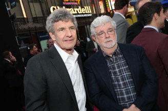 "Alan Horn and George Lucas pose together at the world premiere of ""Solo: A Star Wars Story"" in Hollywood on May 10, 2018. (Photo: Alex J. Berliner/ABImages)"