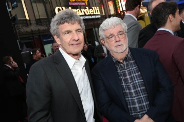"""Alan Horn and George Lucas pose together at the world premiere of """"Solo: A Star Wars Story"""" in Hollywood on May 10, 2018. (Photo: Alex J. Berliner/ABImages)"""