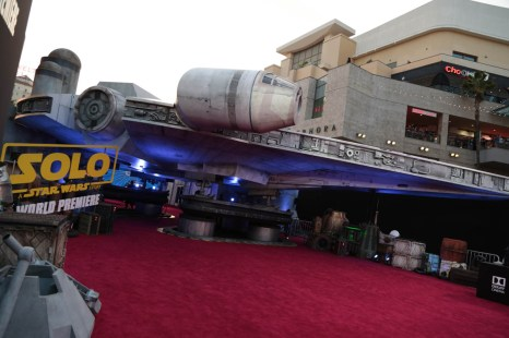 "A view of the Millennium Falcon during the world premiere of ""Solo: A Star Wars Story"" in Hollywood on May 10, 2018. (Photo: Alex J. Berliner/ABImages)"
