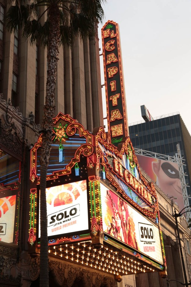 "A view of the El Capitan Theatre during the world premiere of ""Solo: A Star Wars Story"" in Hollywood on May 10, 2018. (Photo: Alex J. Berliner/ABImages)"