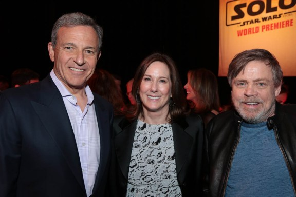 """Bob Iger, Kathleen Kennedy and Mark Hamill pose together at the after party during the world premiere of """"Solo: A Star Wars Story"""" in Hollywood on May 10, 2018. (Photo: Alex J. Berliner/ABImages)"""