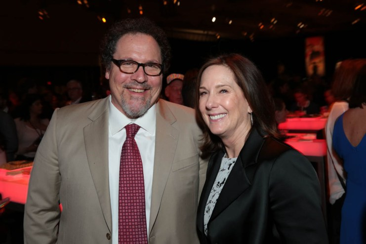 """Jon Favreau and Kathleen Kennedy pose together at the after party during the world premiere of """"Solo: A Star Wars Story"""" in Hollywood on May 10, 2018. (Photo: Alex J. Berliner/ABImages)"""