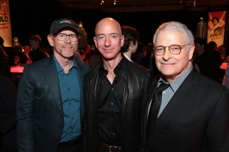"Ron Howard, Jeff Bezos and Lawrence Kasdan pose together during the after party at the world premiere of ""Solo: A Star Wars Story"" in Hollywood on May 10, 2018. (Photo: Alex J. Berliner/ABImages)"