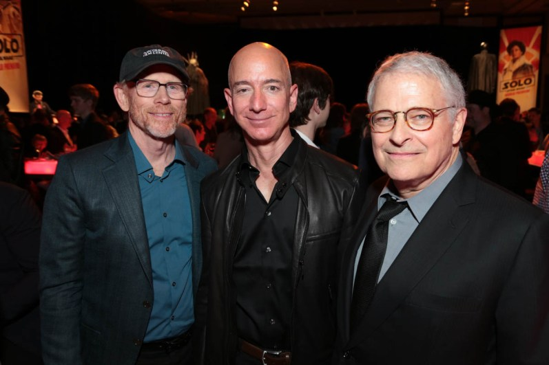 """Ron Howard, Jeff Bezos and Lawrence Kasdan pose together during the after party at the world premiere of """"Solo: A Star Wars Story"""" in Hollywood on May 10, 2018. (Photo: Alex J. Berliner/ABImages)"""