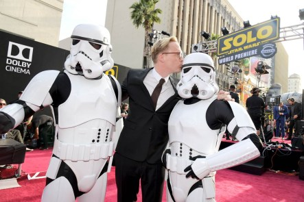 HOLLYWOOD, CA - MAY 10: Actor Paul Bettany (C) attends the world premiere of ìSolo: A Star Wars Storyî in Hollywood on May 10, 2018. (Photo by Charley Gallay/Getty Images for Disney) *** Local Caption *** Paul Bettany