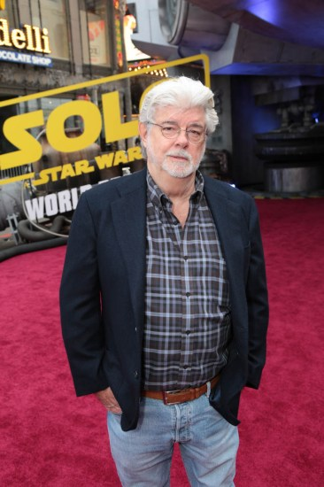 """George Lucas attends the world premiere of """"Solo: A Star Wars Story"""" in Hollywood on May 10, 2018. (Photo: Alex J. Berliner/ABImages)"""