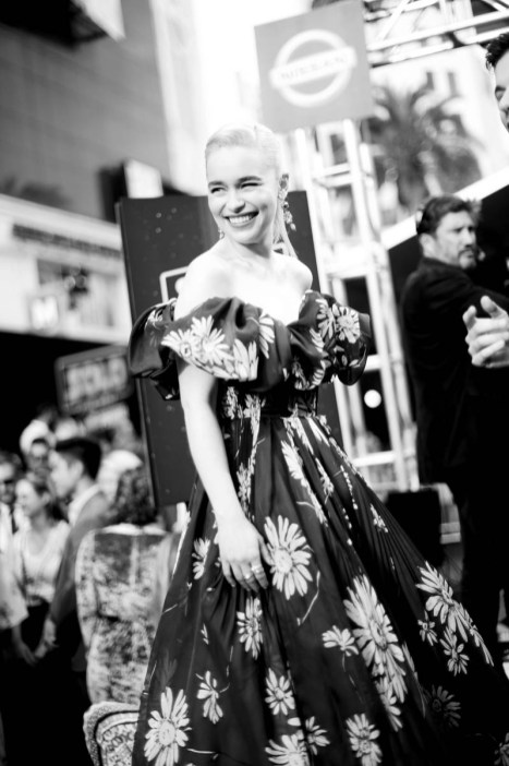 HOLLYWOOD, CA - MAY 10: (EDITORS NOTE: This image has been shot in black and white. Color version not available) Actor Emilia Clarke attends the world premiere of ìSolo: A Star Wars Storyî in Hollywood on May 10, 2018. (Photo by Charley Gallay/Getty Images for Disney) *** Local Caption *** Emilia Clarke