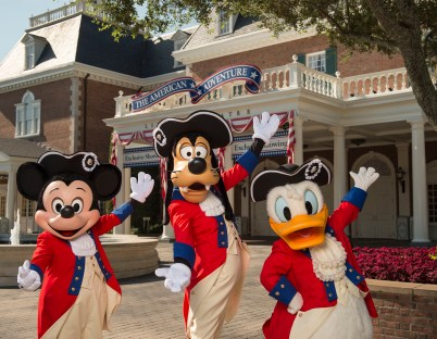 Disney Characters Mickey Mouse, Goofy and Donald Duck dress in their patriotic best to celebrate the Fourth of July at Walt Disney World Resort. The characters appear for meet and greets at the American Adventure at Epcot for the holiday. (David Roark, photographer)