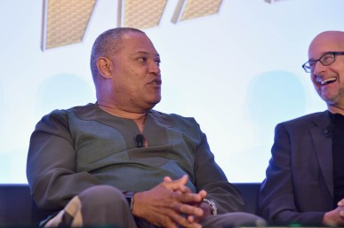 "LOS ANGELES, CA - JUNE 24: Laurence Fishburne and Peyton Reed speak onstage at Marvel Studios' ""Ant-Man And The Wasp"" Global Junket Press Conference on June 24, 2018 in Los Angeles, United States. *** Local Caption *** Laurence Fishburne; Peyton Reed"