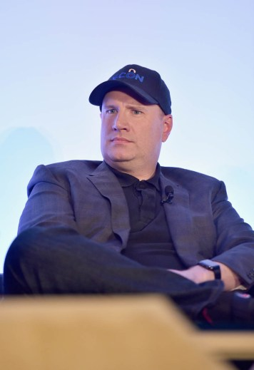"LOS ANGELES, CA - JUNE 24: Marvel Studios President Kevin Feige speaks onstage at Marvel Studios' ""Ant-Man And The Wasp"" Global Junket Press Conference on June 24, 2018 in Los Angeles, United States. (Photo by Alberto E. Rodriguez/Getty Images for Disney) *** Local Caption *** Kevin Feige"