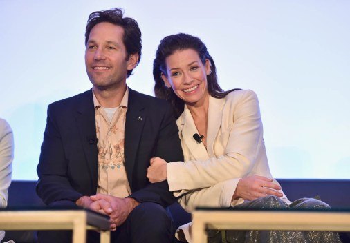 """LOS ANGELES, CA - JUNE 24: Paul Rudd and Evangeline Lilly speak onstage at Marvel Studios' """"Ant-Man And The Wasp"""" Global Junket Press Conference on June 24, 2018 in Los Angeles, United States. (Photo by Alberto E. Rodriguez/Getty Images for Disney) *** Local Caption *** Evangeline Lilly; Paul Rudd"""