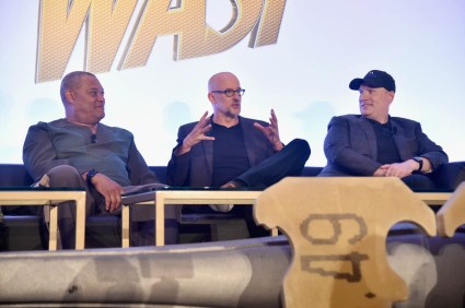 """LOS ANGELES, CA - JUNE 24: (L-R) Laurence Fishburne, Peyton Reed and Marvel Studios President Kevin Feige speak onstage at Marvel Studios' """"Ant-Man And The Wasp"""" Global Junket Press Conference on June 24, 2018 in Los Angeles, United States. *** Local Caption *** Laurence Fishburne; Peyton Reed; Kevin Feige"""