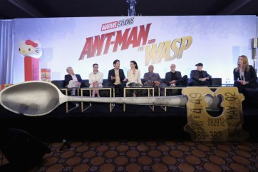"""LOS ANGELES, CA - JUNE 24: (L-R) Michael Douglas, Hannah John-Kamen, Paul Rudd, Evangeline Lilly, Laurence Fishburne, Peyton Reed, Marvel Studios President Kevin Feige and Kara Warner speak onstage at Marvel Studios' """"Ant-Man And The Wasp"""" Global Junket Press Conference on June 24, 2018 in Los Angeles, United States. (Photo by Alberto E. Rodriguez/Getty Images for Disney) *** Local Caption *** Evangeline Lilly; Paul Rudd; Hannah John-Kamen; Michael Douglas; Laurence Fishburne; Peyton Reed; Kevin Feige; Kara Warner"""